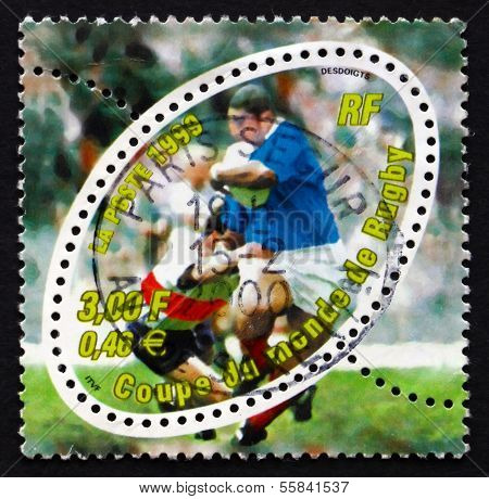 Postage Stamp France 1999 Rugby Scene