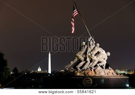 WASHINGTON, DC - CIRCA OCTOBER 2011: Iwo Jima Memorial in Washington, DC. The Memorial honors the Marines who have died defending the US since 1775.and a prominent tourist attraction point.