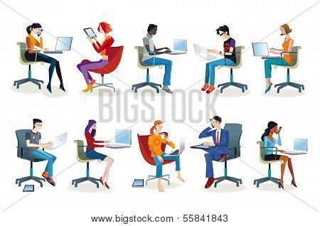 Set Of People Working Sitting