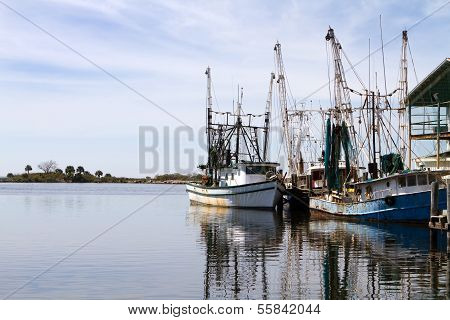 Docked Shrimpers Boats
