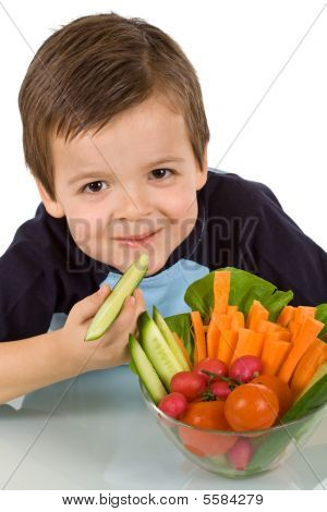 Happy Little Boy With A Bowl Of Fresh Vegetables