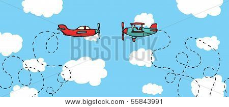 Aerial Dogfight / Cartoon Planes In Battle