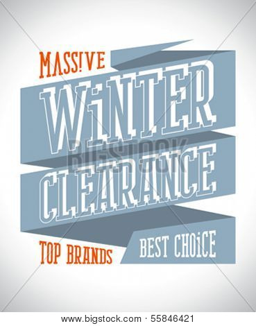 Massive winter clearance design in retro style on a ribbon.