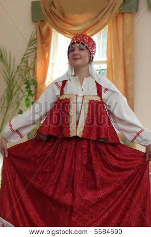 Woman In Red Sarafan