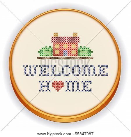 Embroidery, Welcome Home Cross Stitch On Wood Hoop