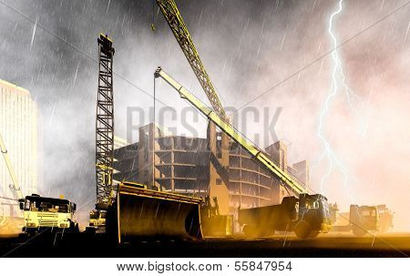 Construction site during rainstorm