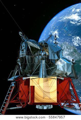 satelite orbiting  in the space