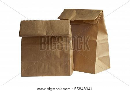 Two Brown Paper Bag Lunch(with clipping path)