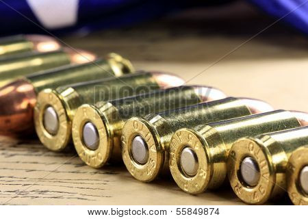 Rows of 45 caliber ammunition