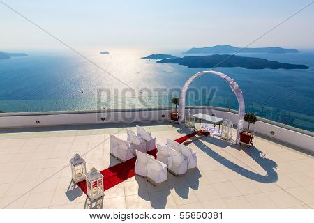 Romantic Place For Wedding Ceremony In Santorini Island,crete,greece, Fira Town