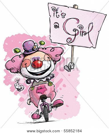 Clown On Unicycle Holding An It's A Girl Placard