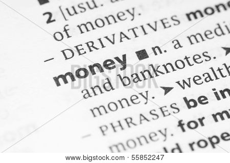 Word Money Found In Dictionary