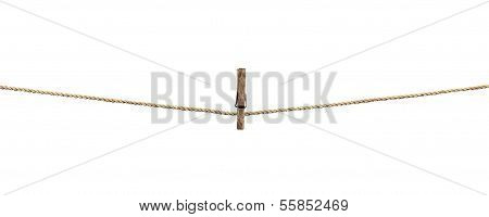 Clothesline With Clothespins Isolated On White  Background