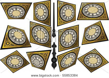 Set Of Victorian Clocks With Lancets