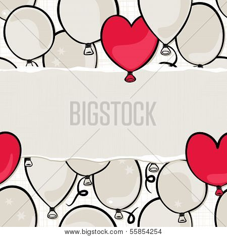 flying colorful gray and red round and heart shaped balloons party time seamless pattern on white