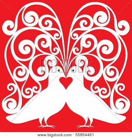 White Doves Kissing Pair Pattern With A Heart Symbol