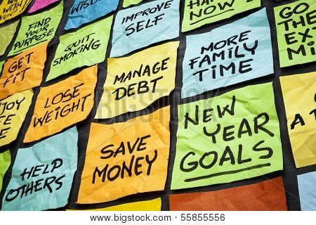 new year goals or resolutions - colorful sticky notes on a blackboard
