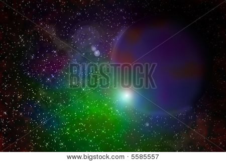 Gaseous Nebula And Planet