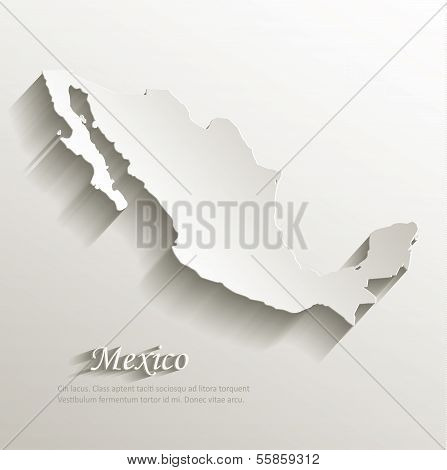 Mexico map card paper 3D natural vector poster