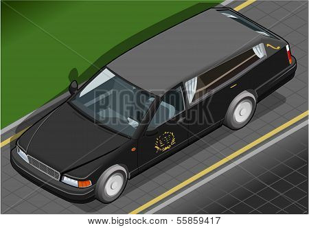 Isometric Hearse In Front View