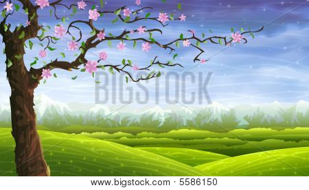 Summer Fairy-tale Tree Over Rolling Landscape