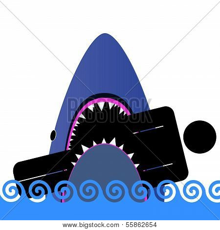 Shark Icon Color Vector Illustration