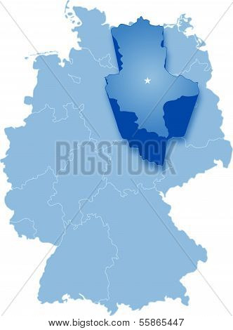 Map of Germany where Saxony-Anhalt is pulled out