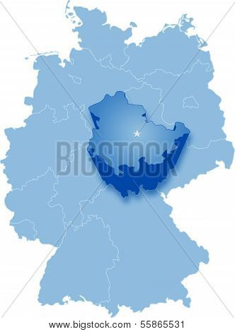 Map of Germany where Thuringia is pulled out