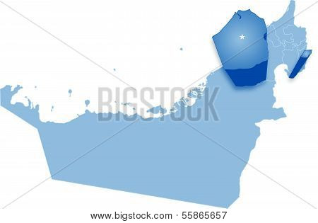 Map of United Arab Emirates where Dubai is pulled out