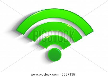 Modern Green Paper Wifi Symbol With Shadow Effect Isolated On White