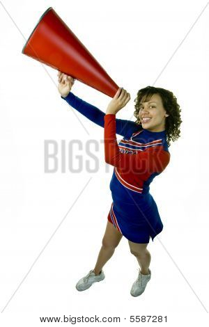 Uniformed Cheerleader with Megaphone