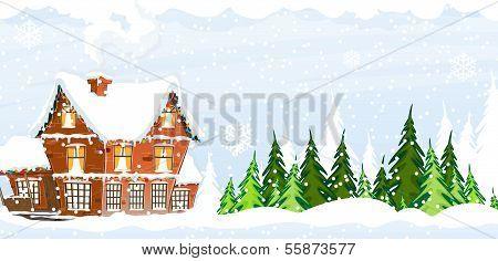 Snow-covered Farmhouse