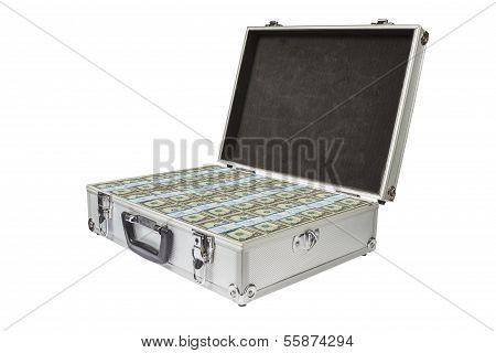 Silver Suitcase With Dollar Notes On White