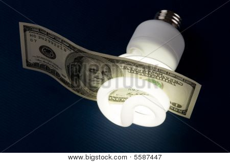 Compact Fluorescent Lightbulb And Dollar