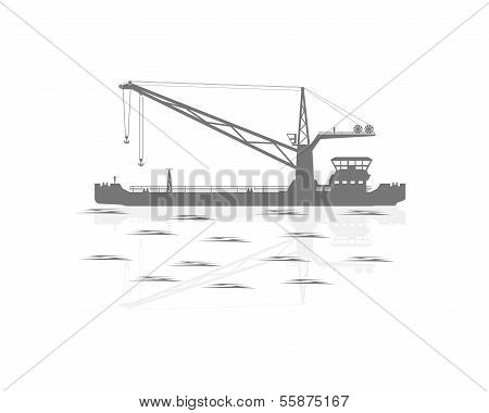 Silhouette Of A Floating Crane