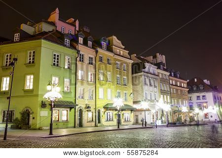 Townhouses At The Castle Square At Night, Warsaw