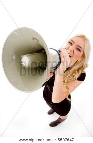 Top View Of Woman Shouting In Loudspeaker