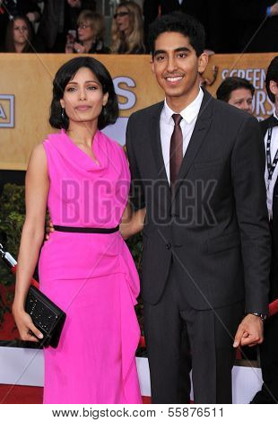 LOS ANGELES - JAN 27:  Freida Pinto & Dev Patel arrives to the SAG Awards 2013  on January 27, 2013 in Los Angeles, CA