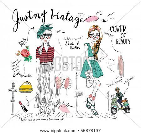 story board illustration fashion girl