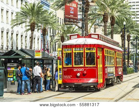 Passengers Travel With The Street Car At Canal Street Downtown New Orleans