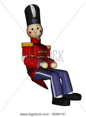 Toy Soldier Red Uniforn Sitting