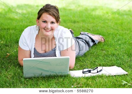 Student Studying On Lap Top