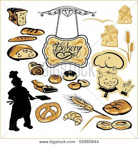Set Of Different Bakery - Bread, Pie, Biscuit, Cakes. Hand Written Text Bakery On Signboard.