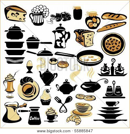 Set Of Different Food - Bread, Pie, Biscuit, Cakes, Eaggs, Omelette, Cheese, Milk, Pizza, Coffee, Te