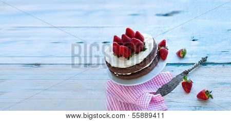 Delicious Homemade Cake With Strawberries (sugar-free) - Isolated Wallpaper,
