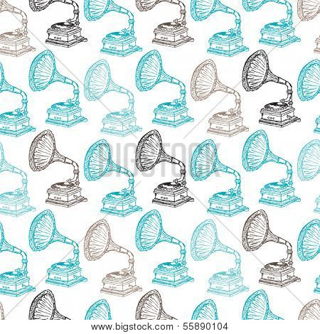 Seamless vintage icon of music gramophone record player background pattern in vector