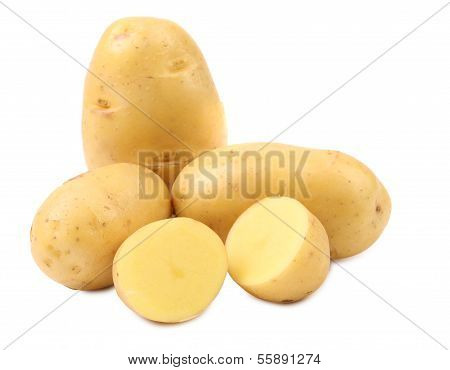 Potatoes and splited tuber.