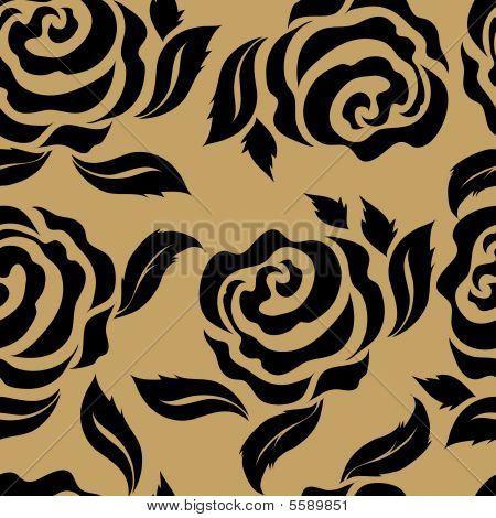 Sem costura padrão floral vintage com rosas