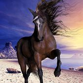 foto of unicorn  - A beautiful unicorn prances with its wild mane flowing and muscles shining - JPG