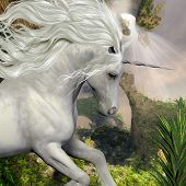 picture of unicorn  - A beautiful white unicorn prances with its wild mane flowing and muscles shining - JPG